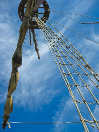 Mainmast of a Spanish galleon, with his scales and sails photo