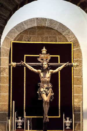 viacrucis: Christ of the forgiveness in the parish church of Santa Cruz, Cadiz, Spain Stock Photo