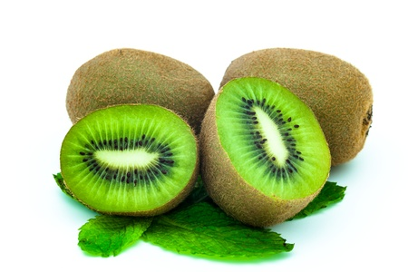 Fresh piece kiwi fruit isolated on white background photo