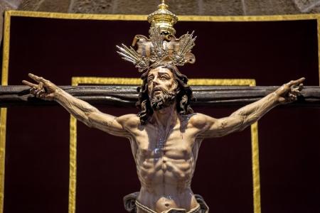 viacrucis: Christ of the forgiveness in the parish church of Santa Cruz, Cadiz, Spain Stock Photo
