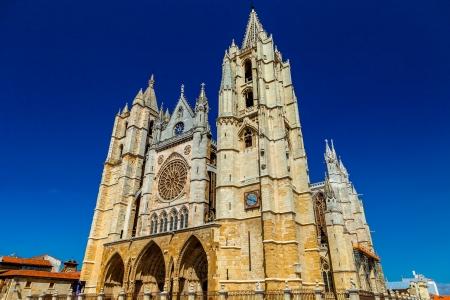 castilla leon: Gothic cathedral of Leon, Castilla Leon, Spain Stock Photo