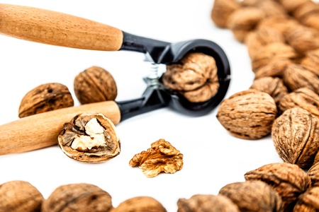A composition of walnuts, cracked walnuts and a nutcraker photo