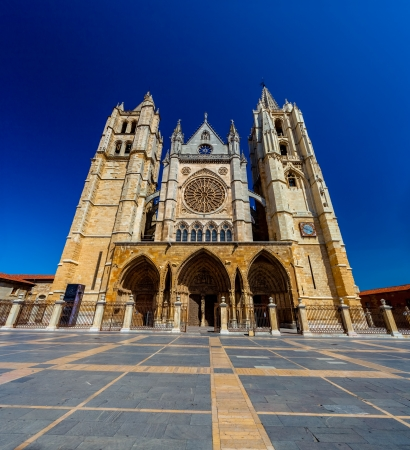 castilla: Gothic cathedral of Leon, Castilla Leon, Spain Stock Photo