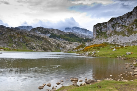 picos: Fantastic lake Ercina, one of the famous lakes of Covadonga, Asturias ,  Spain