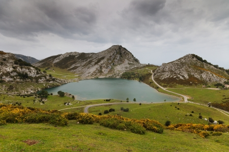 Fantastic lake Enol, one of the famous lakes of Covadonga, Asturias ,  Spain photo