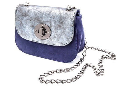 leathern: A modern leathern handbag on a white background