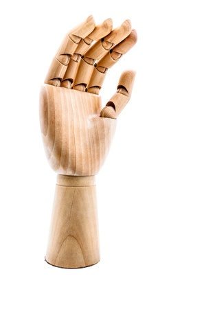 Wooden hand on a white background photo