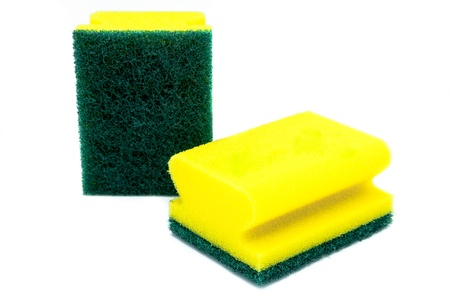 Composition of two scourer on a white background photo