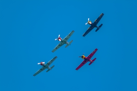 aeronautics: CADIZ, SPAIN-SEP 13: Aircrafts of the acrobatic Patrol Jacob 52 taking part in an exhibition on the 1st airshow of Cadiz on Sep 13, 2008, in Cadiz, Spain
