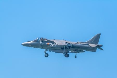 are thrust: CADIZ, SPAIN-SEP 14: Aircraft AV-8B Harrier Plus taking part in an exhibition on the 1st airshow of Cadiz on Sep 14, 2008, in Cadiz, Spain