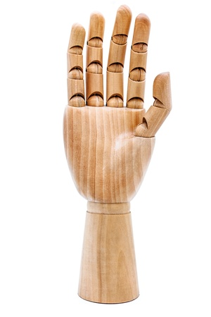 inanimate: Wooden hand on a white background