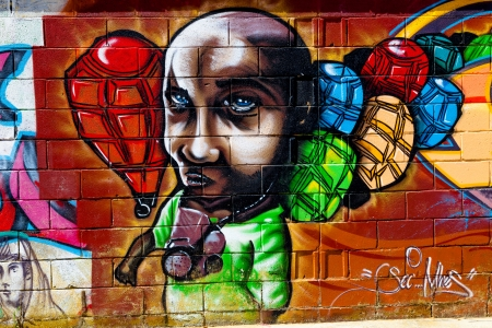 PUERTO REAL, CADIZ, SPAIN-JUL 15: Graffiti of unidentified artist on the first tournament of Graffiti of Puerto Real on Jul 15, 2011, in Puerto Real,  Spain