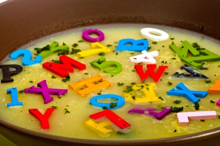 A hot- alphabet soup dish photo