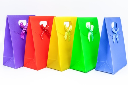 Lots of gift bags of different colors Stock Photo - 16915356