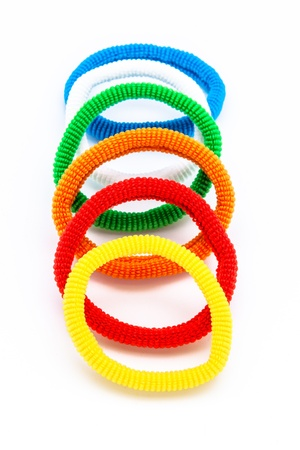 scrunchie: Several pony-tail holder of different colors