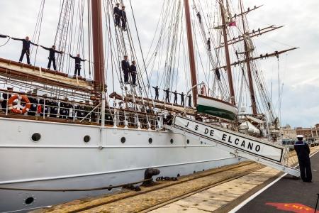 83rd: CADIZ, SPAIN - APR 01: Spanish Navy Training Ship, Juan Sebastian de Elcano about to setting sail on the 83rd cruise of instruction with 69 midshipmen on April 01 , 2012, in Cadiz , Spain
