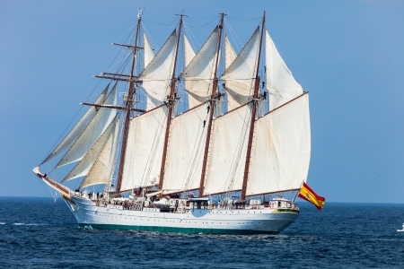 83rd: CADIZ, SPAIN - APR 01: Spanish Navy Training Ship, Juan Sebastian de Elcano setting sail on the 83rd cruise of instruction with 69 midshipmen on April 01 , 2012, in Cadiz , Spain