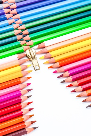 Composition of color pencil forming a zipper photo