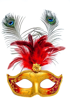 Colorful carnival mask on a white background photo