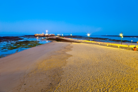 man made structure: Landscape of the beach of La Caleta on  the province of Cadiz on Spain, about to dawn Stock Photo