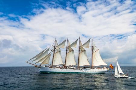 afloat: CADIZ, SPAIN - APR 01: Spanish Navy Training Ship, Juan Sebastian de Elcano setting sail on the 83rd cruise of instruction with 69 midshipmen on April 01 , 2012, in Cadiz , Spain