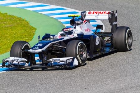 turns of the year: JEREZ DE LA FRONTERA, ESPA�A - 08 de febrero: Valtteri Bottas de carreras de Williams F1 Team en la sesi�n de entrenamiento el 08 de febrero de 2013, en Jerez de la Frontera, Espa�a Editorial