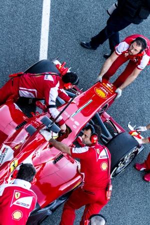 f1: JEREZ DE LA FRONTERA, SPAIN - FEB 08: Pedro Martinez de la Rosa of Scuderia Ferrari F1 entering to the pit on training session on February 08 , 2013, in Jerez de la Frontera , Spain