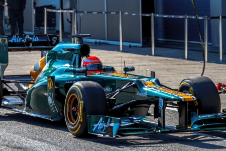 jarno: JEREZ DE LA FRONTERA, SPAIN - FEB 10: Jarno Trulli of Catherham F1 entering to the pit on training session on February 10 , 2012, in Jerez de la Frontera , Spain Editorial