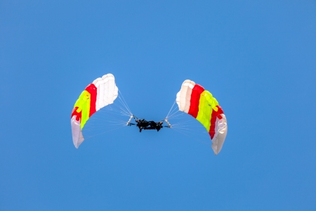 skydive: CADIZ, SPAIN-SEP 12:  Parachutist of the PAPEA taking part in an exhibition on the 2nd airshow of Cadiz on Sep 12, 2009, in Cadiz, Spain