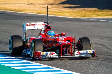 scuderia: JEREZ DE LA FRONTERA, SPAIN - FEB 10: Fernando Alonso of Scuderia Ferrari F1 races on training session on February 10 , 2012, in Jerez de la Frontera , Spain