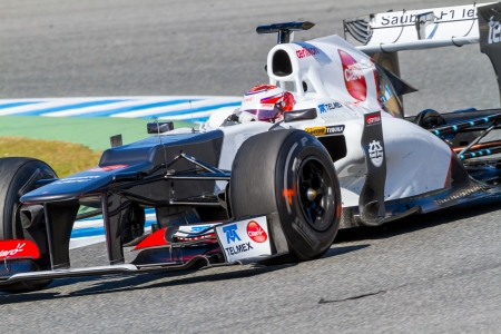 sauber: JEREZ DE LA FRONTERA, SPAIN - FEB 10: Kamui Kobayashi of Sauber F1 races on training session on February 10 , 2012, in Jerez de la Frontera , Spain
