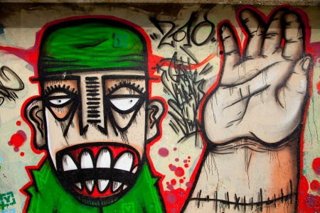 Sample of a kind of urban culture that comes true on the basis of painting the walls with spray and that commonly  is called Graffiti