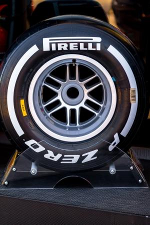 pirelli: JEREZ DE LA FRONTERA, SPAIN - FEB 05: Exposition of medium pneumatic tire Pirelli for the championship of Formula 1 of 2013 on February 05 , 2013, in Jerez de la Frontera , Spain Editorial