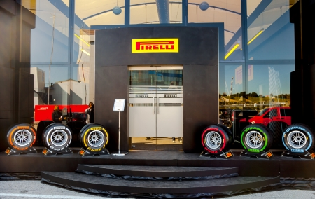 pirelli: JEREZ DE LA FRONTERA, SPAIN - FEB 05: Exposition of the several sets of pneumatic tires Pirelli for the championship of Formula 1 of 2013 on February 05 , 2013, in Jerez de la Frontera , Spain Editorial