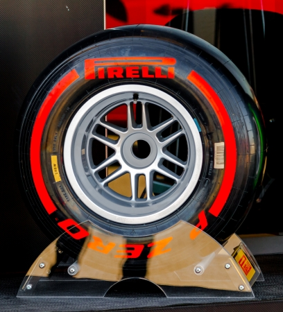 pirelli: JEREZ DE LA FRONTERA, SPAIN - FEB 05: Exposition of supersoft  pneumatic tire Pirelli for the championship of Formula 1 of 2013 on February 05 , 2013, in Jerez de la Frontera , Spain Editorial