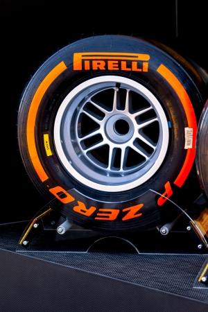 pirelli: JEREZ DE LA FRONTERA, SPAIN - FEB 05: Exposition of hard pneumatic tire Pirelli for the championship of Formula 1 of 2013 on February 05 , 2013, in Jerez de la Frontera , Spain Editorial