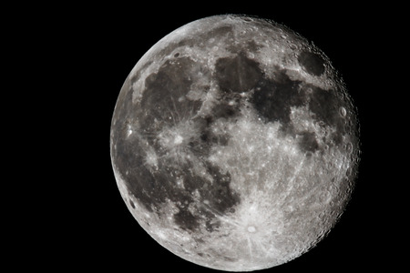 Moon closeup showing the details of the lunar surface. Imagens