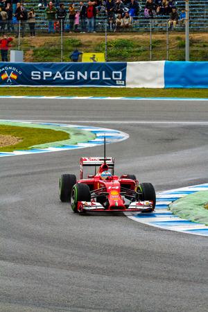 jerez: JEREZ DE LA FRONTERA, SPAIN - JAN 31: Fernando Alonso of Scuderia Ferrari F1 races on training session on January 31 , 2014, in Jerez de la Frontera , Spain Editorial