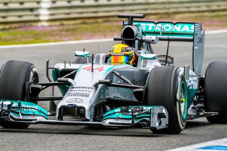 mercedes: JEREZ DE LA FRONTERA, SPAIN - JAN 31:  Lewis Hamilton of Mercedes F1 races on training session on January 31 , 2014, in Jerez de la Frontera , Spain