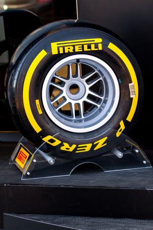 JEREZ DE LA FRONTERA, SPAIN - FEB 05: Exposition of soft pneumatic tire Pirelli for the championship of Formula 1 of 2013 on February 05 , 2013, in Jerez de la Frontera , Spain