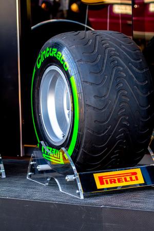 JEREZ DE LA FRONTERA, SPAIN - FEB 05: Exposition of intermediate  pneumatic tire Pirelli for the championship of Formula 1 of 2013 on February 05 , 2013, in Jerez de la Frontera , Spain