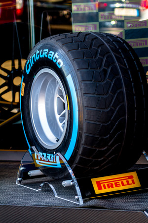 pirelli: JEREZ DE LA FRONTERA, SPAIN - FEB 05: Exposition of wet pneumatic tire Pirelli for the championship of Formula 1 of 2013 on February 05 , 2013, in Jerez de la Frontera , Spain