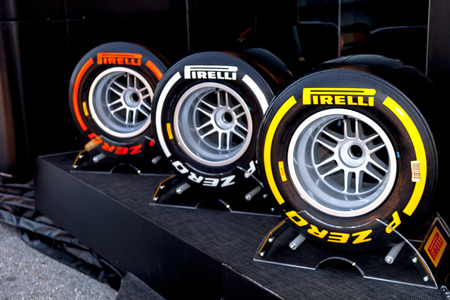 JEREZ DE LA FRONTERA, SPAIN - FEB 05: Exposition of the several sets of pneumatic tires Pirelli for the championship of Formula 1 of 2013 on February 05 , 2013, in Jerez de la Frontera , Spain Editorial