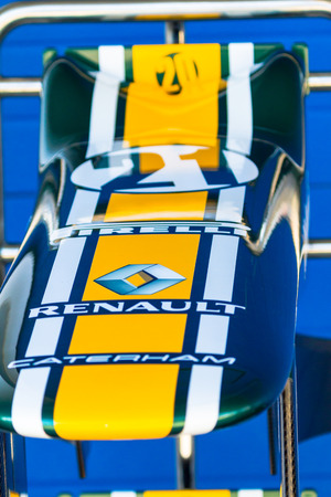 jarno: JEREZ DE LA FRONTERA, SPAIN - FEB 10: Detail of the nose of the car of Jarno Trulli of Catherham F1 on the pit on training session on February 10 , 2012, in Jerez de la Frontera , Spain