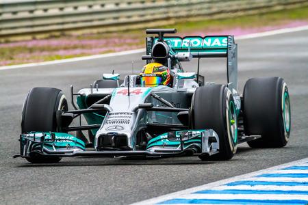 jerez: JEREZ DE LA FRONTERA, SPAIN - JAN 31:  Lewis Hamilton of Mercedes F1 races on training session on January 31 , 2014, in Jerez de la Frontera , Spain