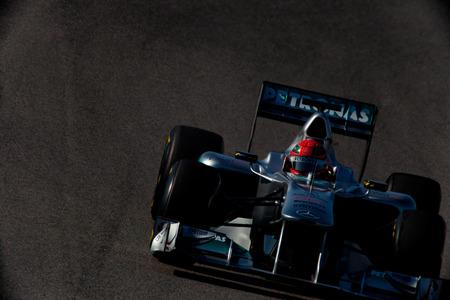 JEREZ DE LA FRONTERA, SPAIN - FEB 11: Michael Schumacher of Mercedes F1 races on training session on February 11 , 2011, in Jerez de la Frontera , Spain Editorial