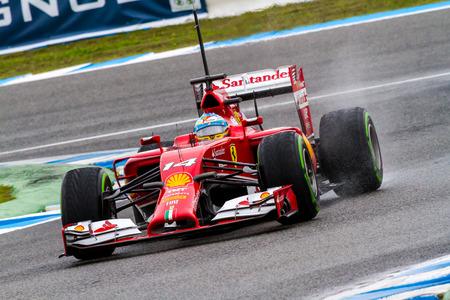 f1: JEREZ DE LA FRONTERA, SPAIN - JAN 31: Fernando Alonso of Scuderia Ferrari F1 races on training session on January 31 , 2014, in Jerez de la Frontera , Spain Editorial