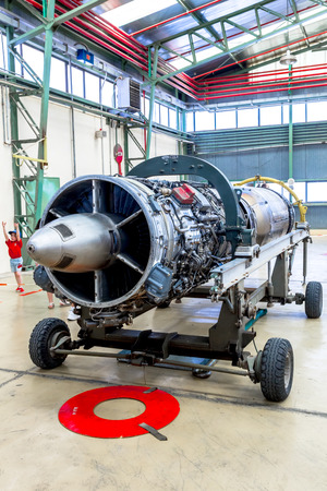 atar: ALBACETE, SPAIN-JUN 23: Turbine SNECMA Atar 09K50  of the aircraft Mirage F1 taking part in a static exhibition on the open day of the airbase of Los Llanos on Jun 23, 2013, in Albacete, Spain Editorial