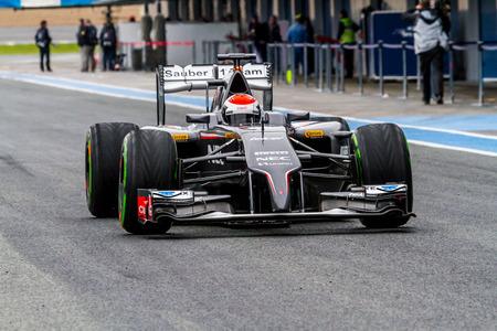 sauber: JEREZ DE LA FRONTERA, SPAIN - JAN 31: Adrian Sutil of Sauber F1 leaving the pit on training session on January 31 , 2014, in Jerez de la Frontera , Spain Editorial