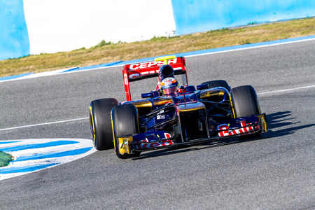 jerez de la frontera: JEREZ DE LA FRONTERA, SPAIN - FEB 10: Jean Eric Vergne of Toro Rosso F1 races on training session on February 10 , 2012, in Jerez de la Frontera , Spain Editorial